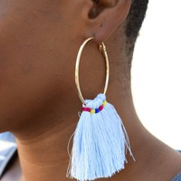 Festival Tassel Earring Powder Blue