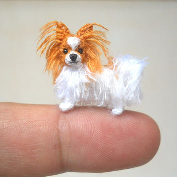 Miniature Papilon - Tiny Crochet Miniature Dog Stuffed Animals - Made To Order