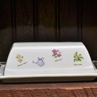 Covered Butter Dish Botanical Garden Floral Pattern Heavy Stoneware Spring Easter Table Setting Country Kitchen
