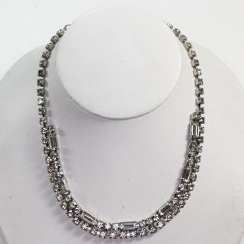 Rhinestone Crystal Necklace Baguettes and Chatons Wedding Special Occasion