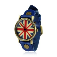 Retro Union Jack Blue Leather Watch