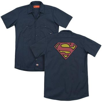 LMFDP2 Superman - Distressed Shield(Back Print) Adult Work Shirt