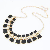 2015 New Arrival Fashion Jewelry Trendy Women Necklaces & Pendants Link Chain Statement Necklace Alloy Enamel Square Pendant