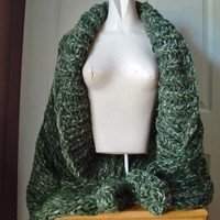 "Shrug super chunky knit shawl collar sweater cardigan  long sleeves large extra large plus 1X 2X 3X sized women ""Landscape Greens"""