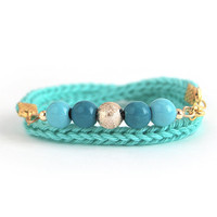 Wrap bracelet, teal bracelet with beads, knit bracelet