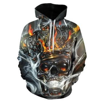 Skull Head Smoke Fire Crown Chrome All Over Print Hoodie Sweater