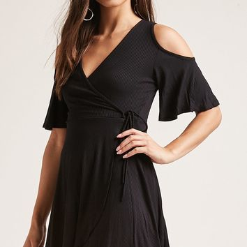 Ribbed Faux-Wrap Dress
