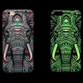 Cool Elephant Animal Luminous iPhone X 8 7 Plus and iPhone SE 5S 6 6S iPhone Case Cover F
