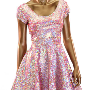 Silver on Red (PINK!) Shattered Glass Holographic Skater Dress