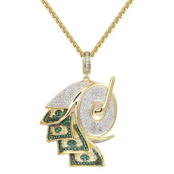Men's Iced Out Green Bill Money Roller Pendant