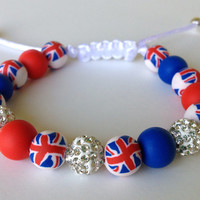 Shamballa Bracelet, Polymer Clay Beads, Pave Beads, Royal Baby, Union Jack, London, Red, Blue, British, Great Britain