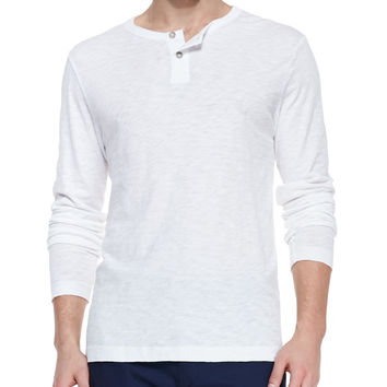 Long-Sleeve Two-Button Henley Shirt,