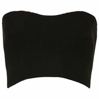 Textured Scuba Back Bandeau - Black