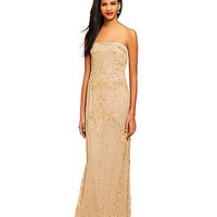 Adrianna Papell Beaded Floral Lace Gown - Champagne