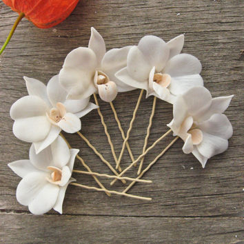 Bridal White Orchid hair pins - Orchid hair clip - Wedding hair accessory - Set of 5