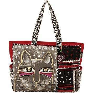 """Oversized Tote Zipper Top 22.5""""X5.5""""X15.25""""-Whiskered Cat"""