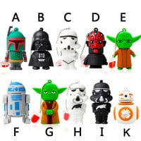 Garunk Usb flash drive 8G Star wars pen drive 32g pendrive 16g R2D2 bb8 Darth Vinda 8g 4g Maul Bounty Hunter Usb2.0 memory stick