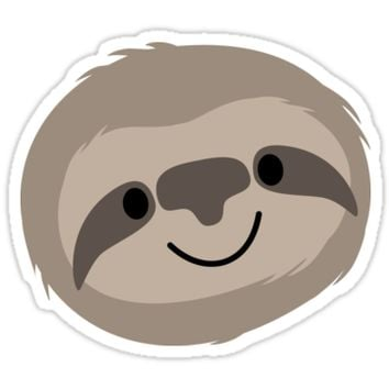 'Happy Lazy Sloth Face' Sticker by Anartsysoul