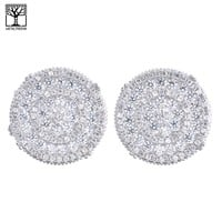 Jewelry Kay style Men's Iced Out Sterling Silver Micro Pave Round CZ Clip Back Earrings SHS 473 S