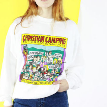 novelty CREW NECK white graphic print jumper CHRISTIAN camping sweatshirt humor medium large