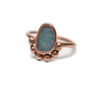 "Australian Blue Opal Ring ""Aurora"" Electroformed Copper Statement Ring"
