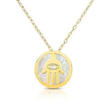 14K Yellow Gold Mother Of Pearl Hamsa Pendant Necklace, 16""