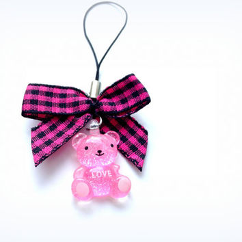 Kawaii charm bow bear animal phone charm - fabric pink black ribbon - Harajuku - cute teddy bear phone charm - pink resin charm - pop kei