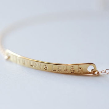 Gold Bar Live Love Laugh Bracelet-24k gold Live Love Laugh Cuff Bangle Bracelet, Gold Bar Bracelet