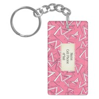 White and Black Zigzags on Pink Keychain