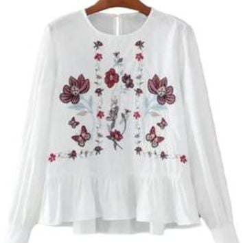 'Dalene' Embroidered Peplum Top