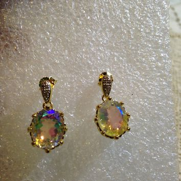 Nemesis Vintage Handmade Golden Sterling Silver Opal White Mystic Topaz earrings