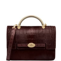 Mulberry Large Bayswater Shoulder Printed & Plain Hair Calf Mix - Oxblood Leather Bag - ShopBAZAAR