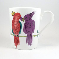 Parrots Birds Coffee Mug Cup Vintage 10oz Colorful Studio Nova Bone China k330
