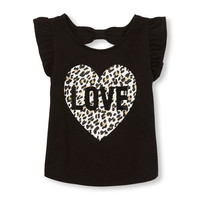 Toddler Girls Short Ruffle Sleeve Embellished Graphic Bow Cutout Back Top | The Children's Place