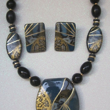 Vintage Jewelry, Set, Necklace,  Pierced Earrings, Tribal Influence, Teal, Gold, Black, Beaded, 1980's
