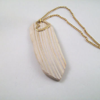 Valentine's Day Gift: Sea Shell & Heart Necklace; Hand Carved Sea Shell and Gold Heart Pendant, 18 inch Chain; Beach Jewelry, One of a Kind