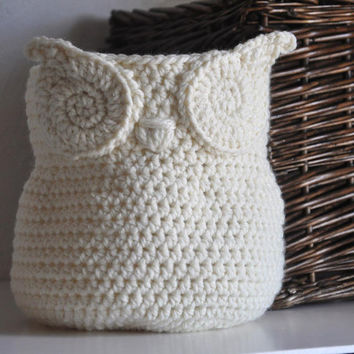 Owl Basket Crocheted Bin Yarn Holder Nursery Decor Home Organizer Catch-all Cream Off White