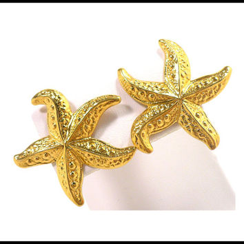 Gold Starfish Earrings, Pierced Ear Climbers, 3D Starfish, Gold Summer Earrings, Beach Jewelry, Graduation Gift For Her