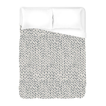 Hand Knit Grey Duvet Cover