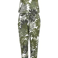 Palm Leaf Print Strappy Jumpsuit - Green