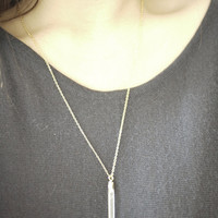 Clear White Raw Crystal Bar 18k gold Long Necklace, simple, natural shape, gem, unique eco friendly