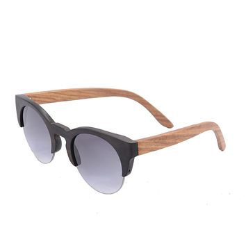 retro vintage half rim wooden frame glasses cr39 mirror coating sunglasses bamboo sun glasses uv400 revo eyeglasses 6017