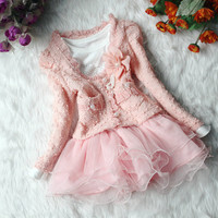 1,2,3,4t skirt baby clothes 2pcs baby girl's summer fall spring dress girl toddler clothes pink white