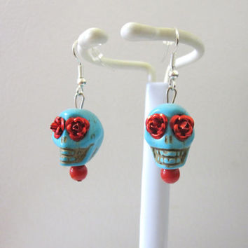 Day of The Dead Earrings Sugar Skull Jewelry Turquoise Blue Red Rose