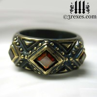 3 Kings Brass Ring with Garnets and crude antique finish