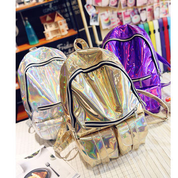 Fashion 2017 New Arrival PU Leather Women Backpack Laser Design Mochila Glitter Backpack Shoulder Bag Student Satchel Travel Bag
