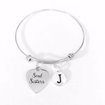 Soul Sisters Initial Best Friend BFF Gift Adjustable Bangle Charm Bracelet