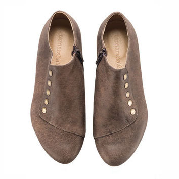 Brown shoes, Grace, chocolate, handmade, flats, leather shoes, by Tamar Shalem on etsy