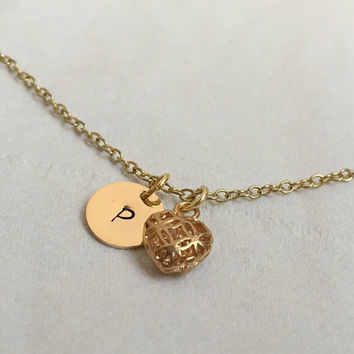 Gold tiny Initial necklace, Gold initial Necklace, Gold Necklace, initial Pendant, heart pendant, Personalized Gold necklace, Gift Idea