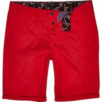 River Island MensRed slim chino shorts